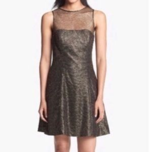 Aidan Mattox gold black  fit flare dress 10
